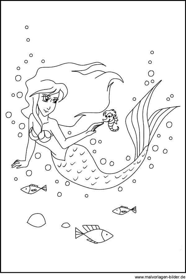 H2O Ausmalbilder  Ausmalbild von einer Meerjungfrau zum Ausdrucken