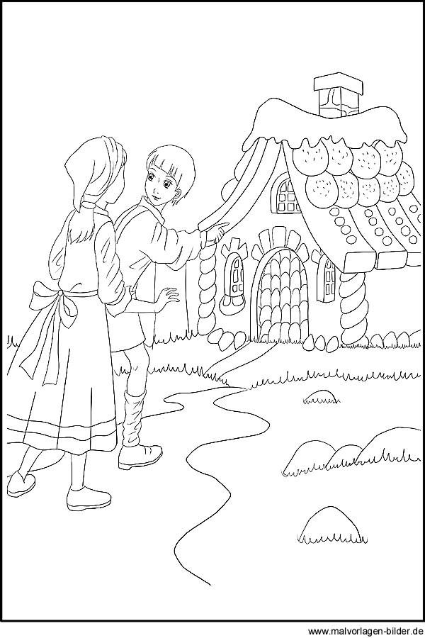 Hänsel Und Gretel Ausmalbilder  Hänsel und Gretel Malvorlagen und Ausmalbilder zum
