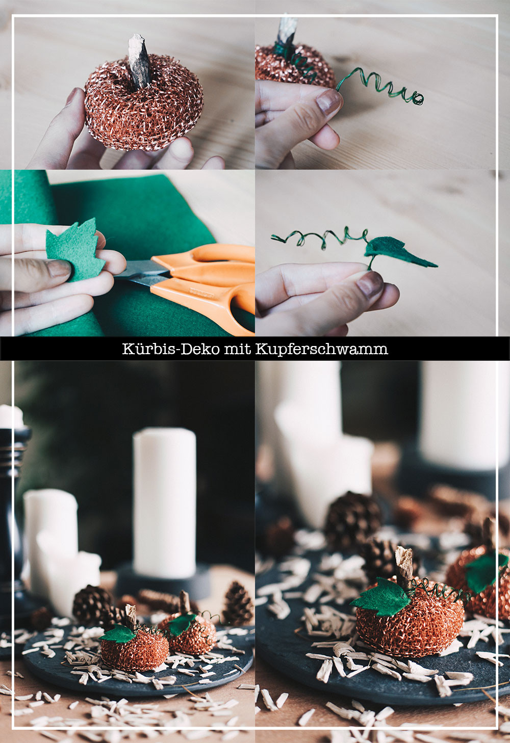 Herbst Diy  Herbst DIY mit Kupferschwamm Kürbis Deko mal anders