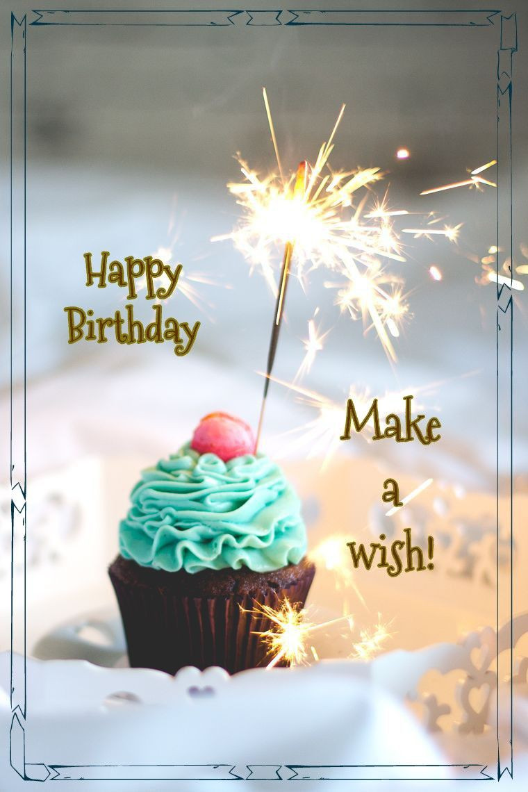 Herzliche Geburtstagswünsche  Happy Birthday cupcake sparkler Geburtstag