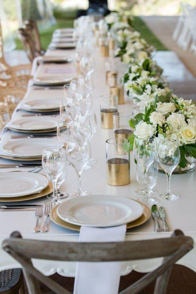 Hochzeit Tisch  hochzeit frühling tischdeko langer tisch goldene akzente
