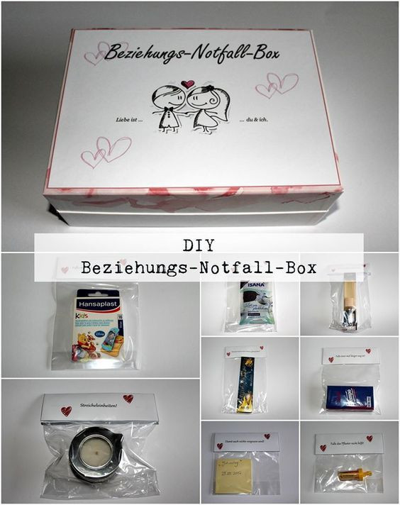 Jahrestag Geschenke  DIY Beziehungsnotfallbox Do it your self