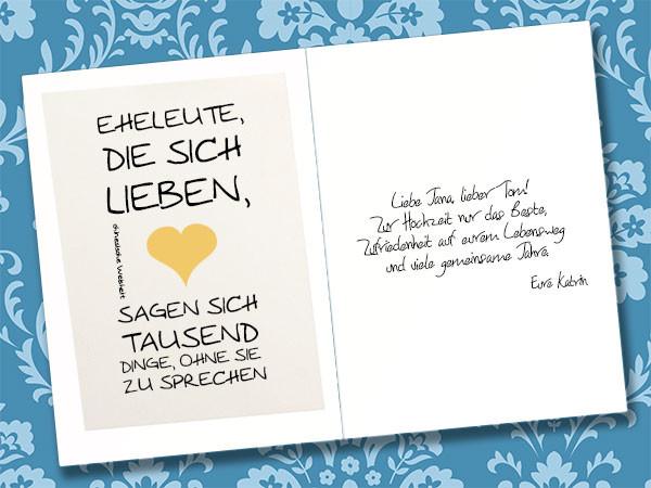 Karte Spruch Hochzeit  So wird Hochzeitskarte mit Glückwünschen gestaltet
