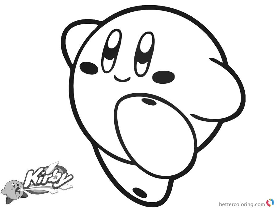 Kirby Ausmalbilder  Kirby Coloring Pages Simple Happy Kirby Picture Free
