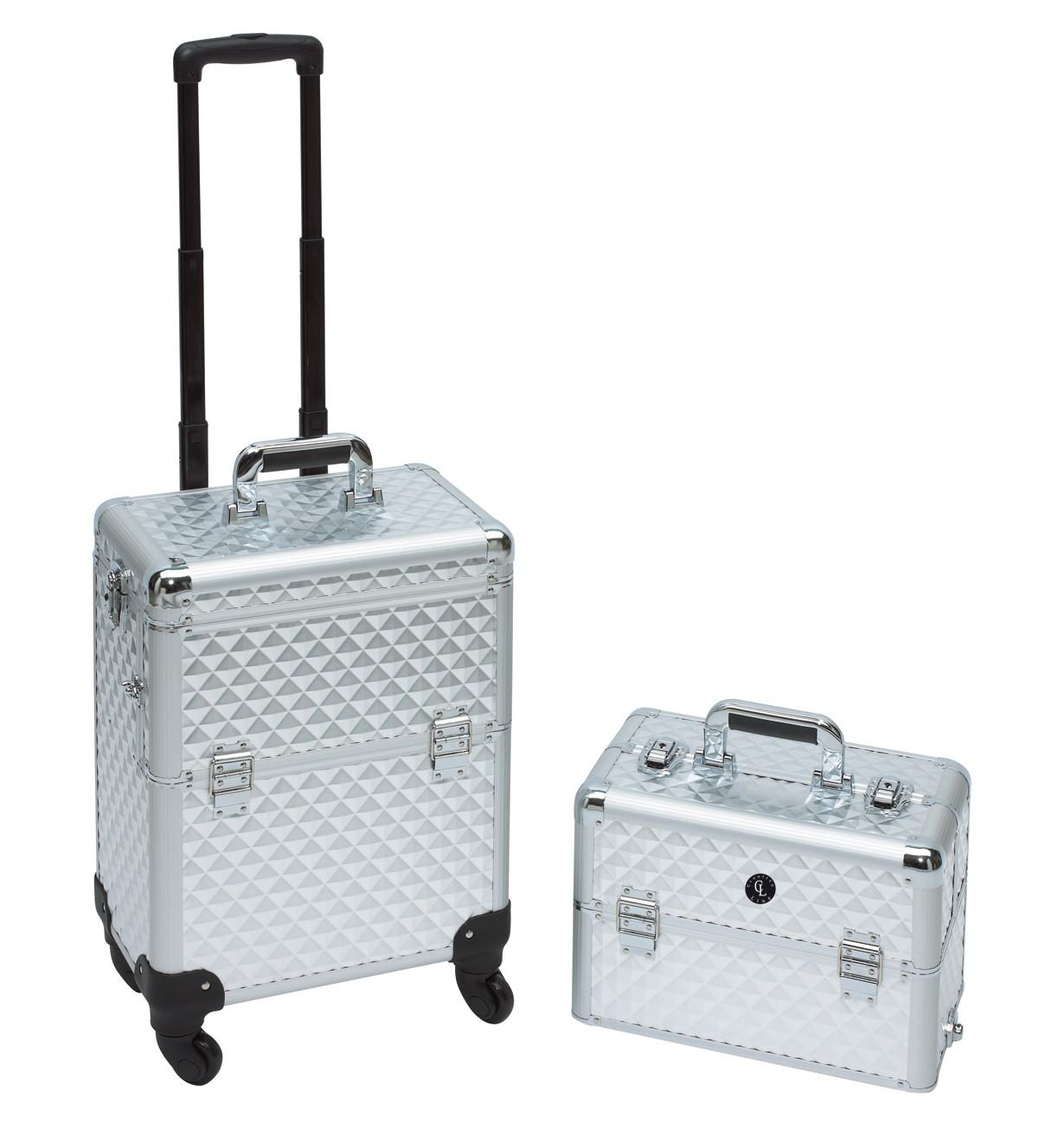 Koffer Nageldesign  CHECK IN 50L Alu Trolley Kosmetikkoffer Rosa Friseurkoffer