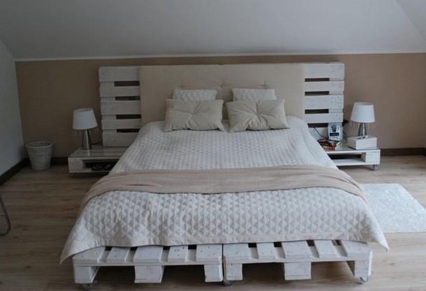 Kopfteil Bett Diy  Diy Bett Mit Kopfteil Und Nachttische Wei C F Aus Paletten