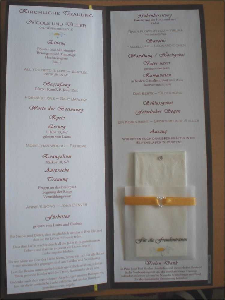 Lieder Zur Hochzeit Kirche  Programmheft Kirche Hochzeit Einzigartig Programmheft