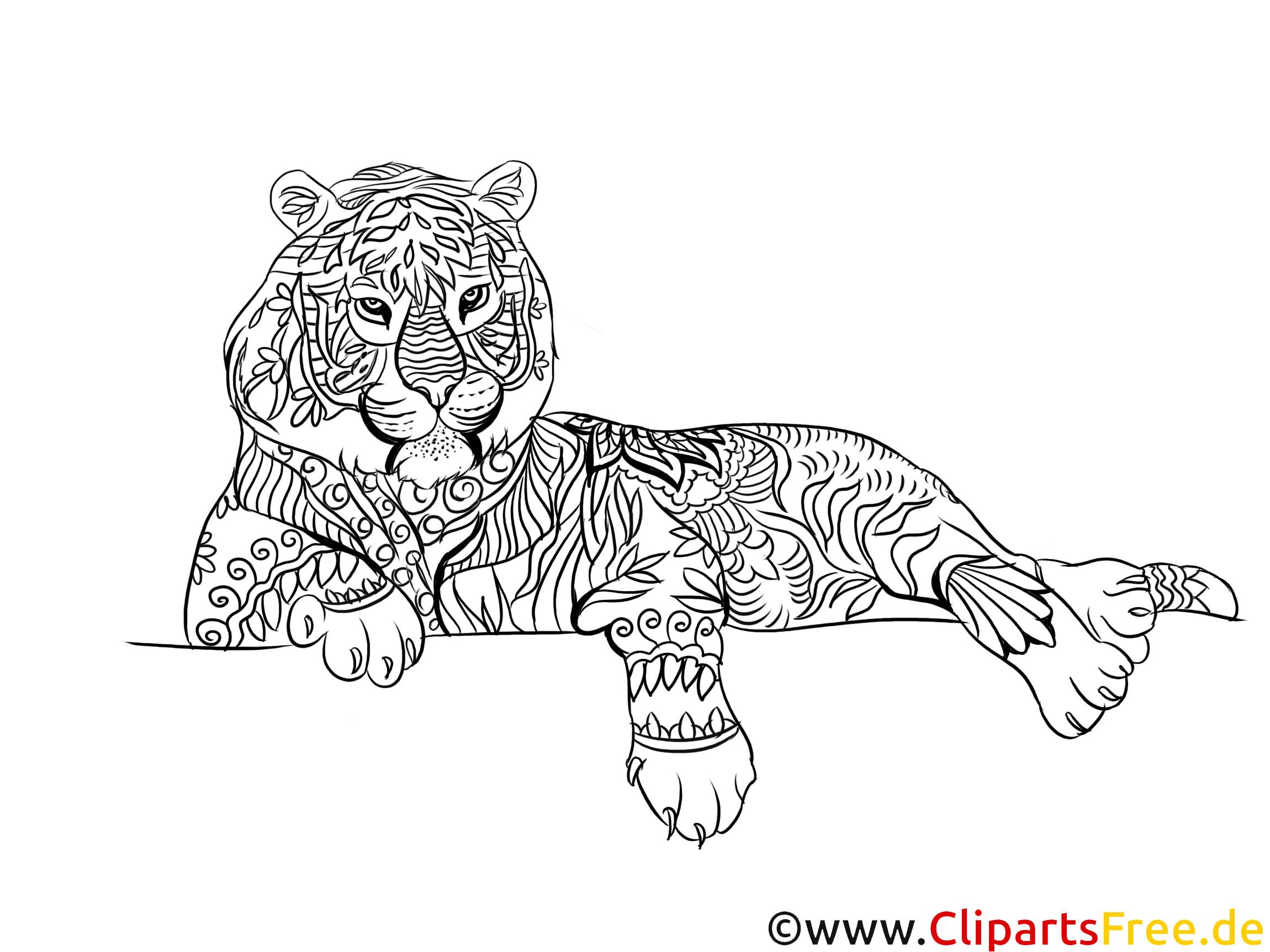 Malvorlagen Für Erwachsene Zum Ausdrucken  Tiger kostenlose Malvorlage für Erwachsene zum Ausdrucken