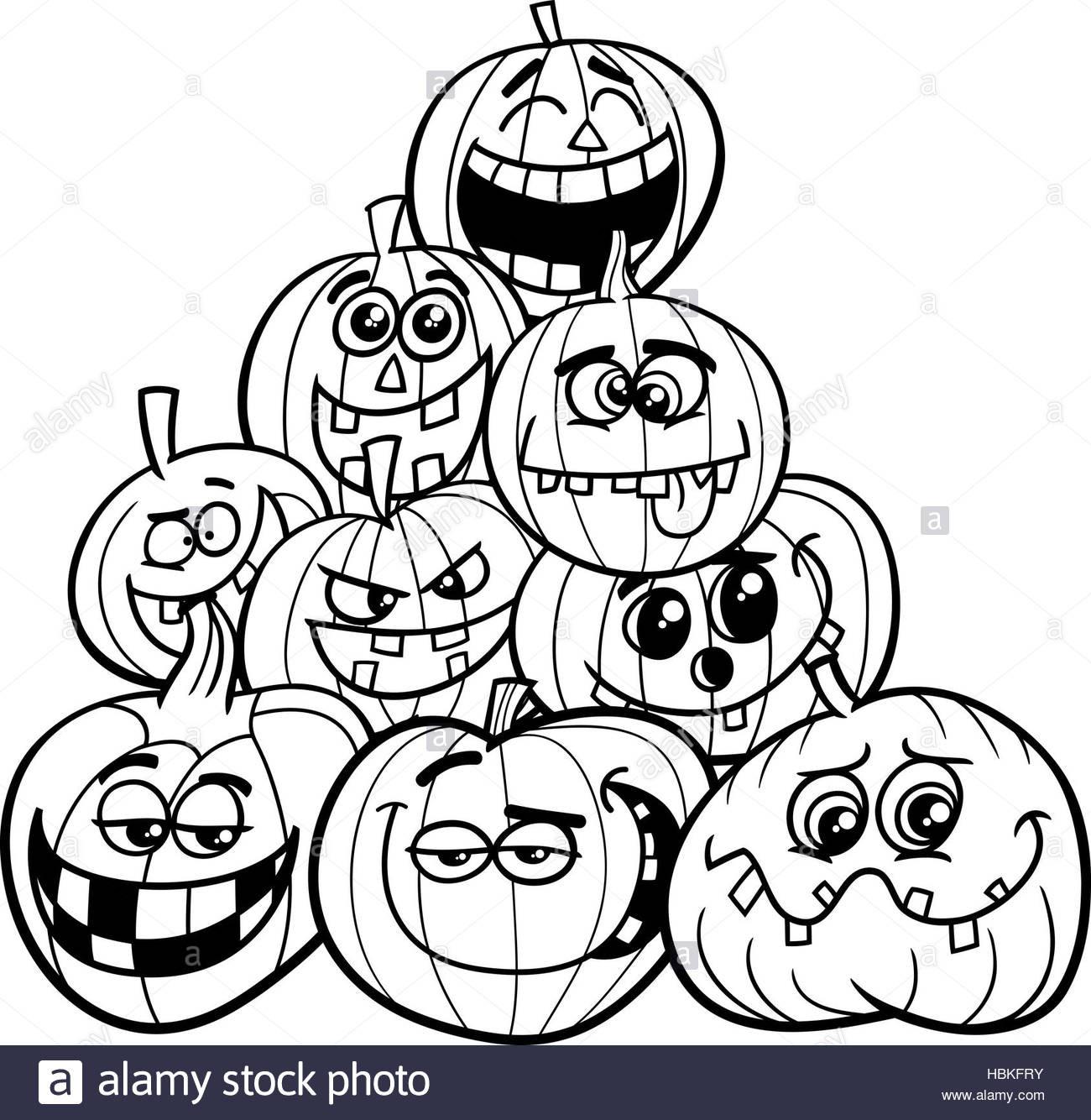 Malvorlagen Halloween  Malvorlagen Halloween Kürbisse Stockfoto Bild