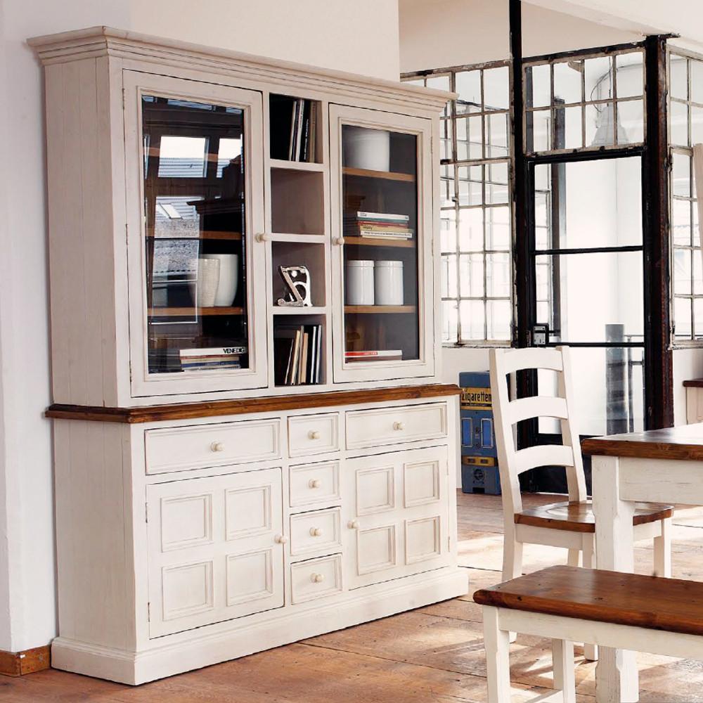 Möbel Akut Bielefeld  BUFFET BODDE Landhaus Kiefer massiv Holz lackiert in weiß