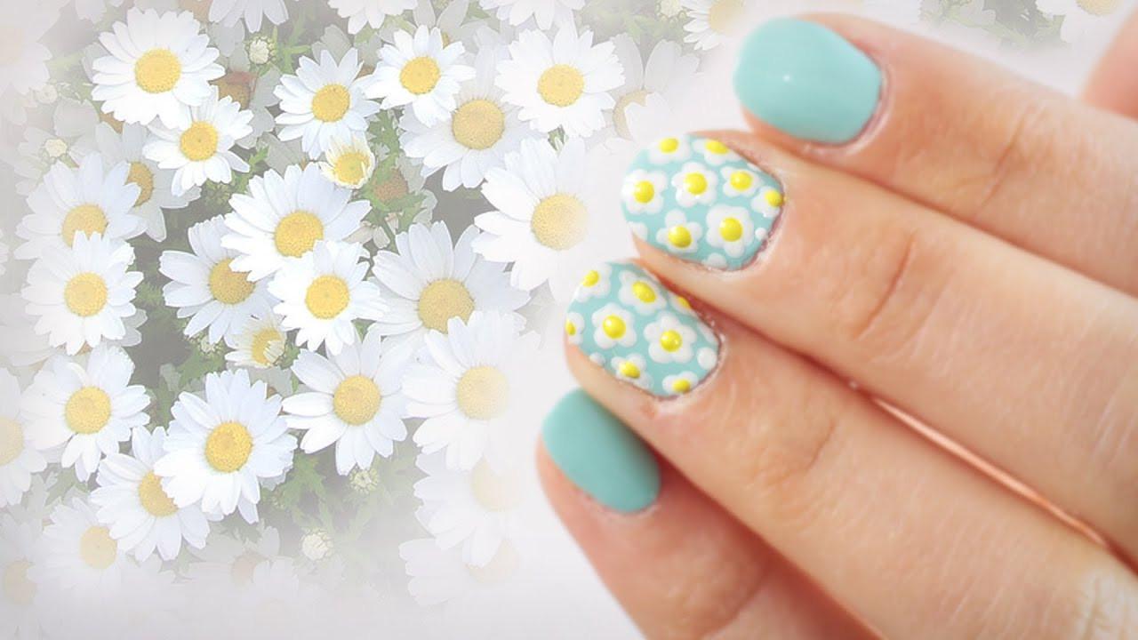 Nageldesign Frühling Nägel  Daisy Nägel Gänseblümchen Blumen Nageldesign ganz