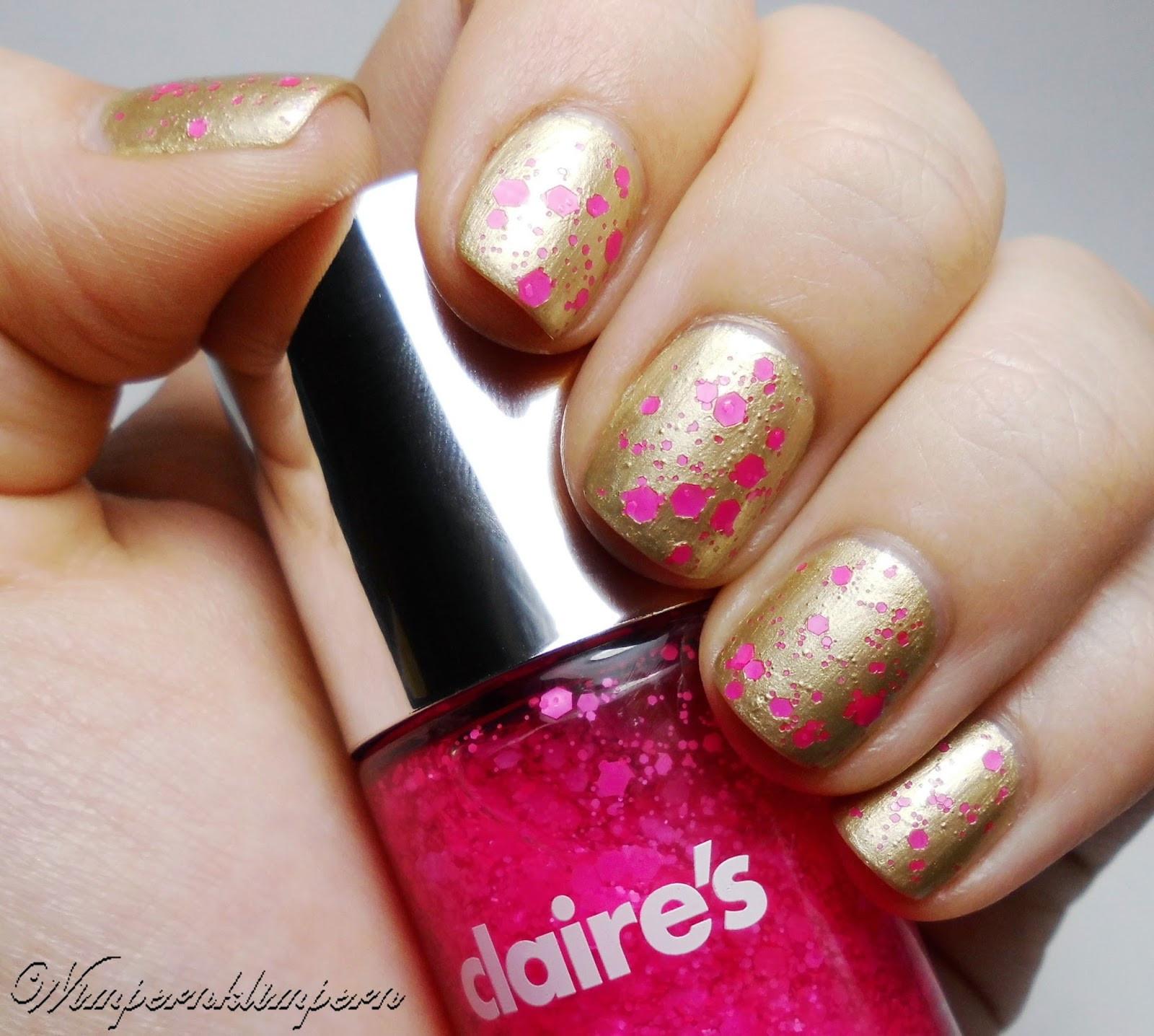 Nageldesign Komplett Lackiert  Wimpernklimpern Nageldesign Gold & Pink