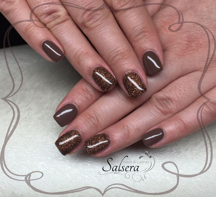 Nageldesign Matt Glitzer  Nails Fullcover Nägel braun Brown Glitter shortnails
