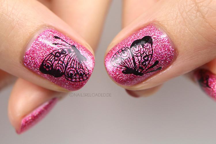 Nageldesign Schmetterlingsdesign  nails reloaded Stamping Nageldesign Schmetterlinge