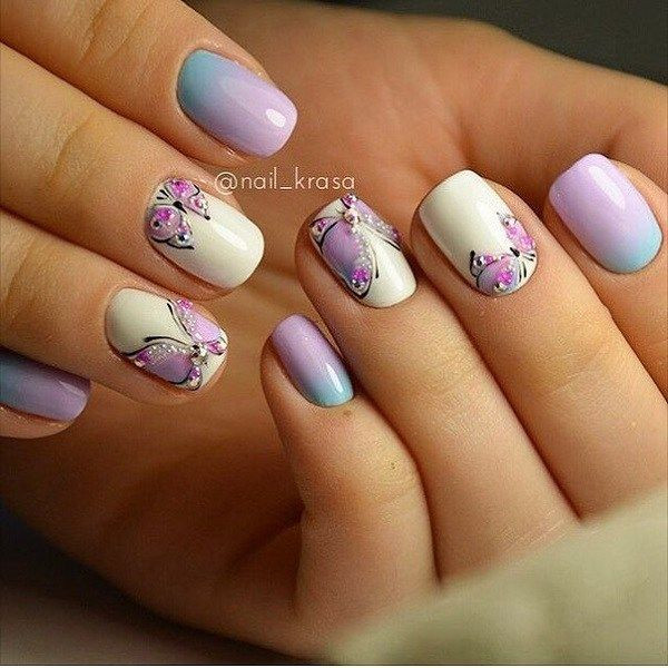 Nageldesign Schmetterlingsdesign  simple butterfly nail art designs styles outfits