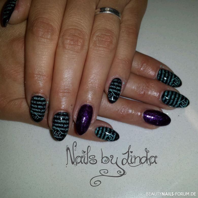 Nageldesign Shop Jolifin  Fullcover schwarz lila Nageldesign