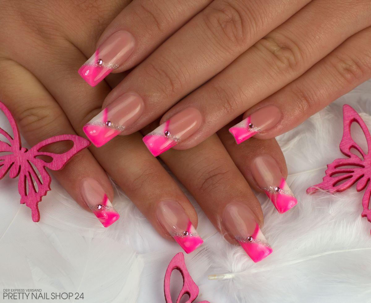 Nageldesign Sommer Neon  pink french nailart nails Meine Kollegin Meike liebt