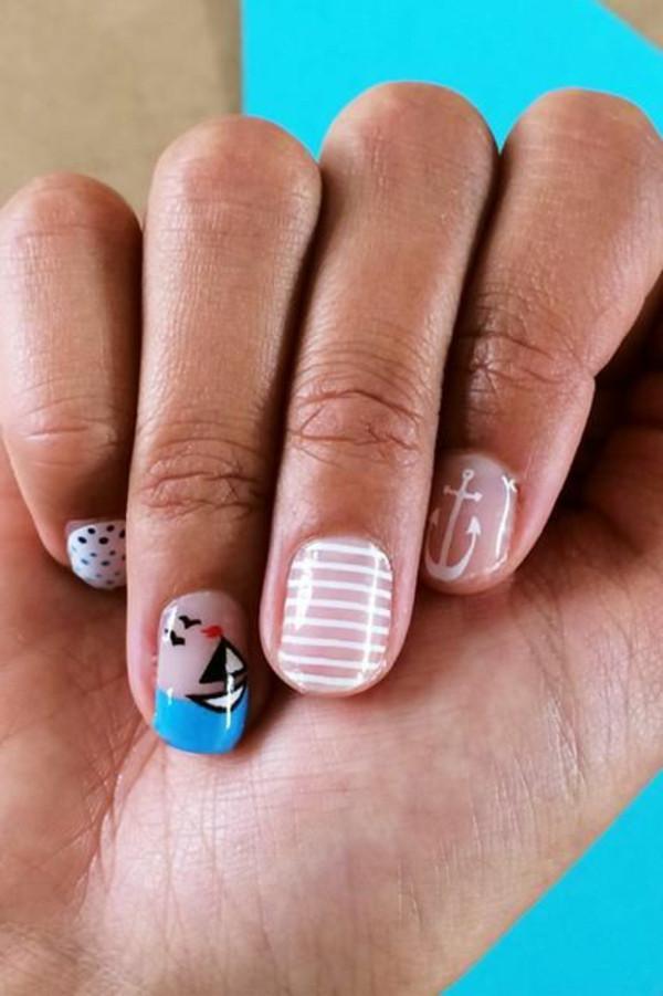 """Nageldesign Sommerfarben  Nail Art Designs zum Thema """"Meer"""" inspirierende"""