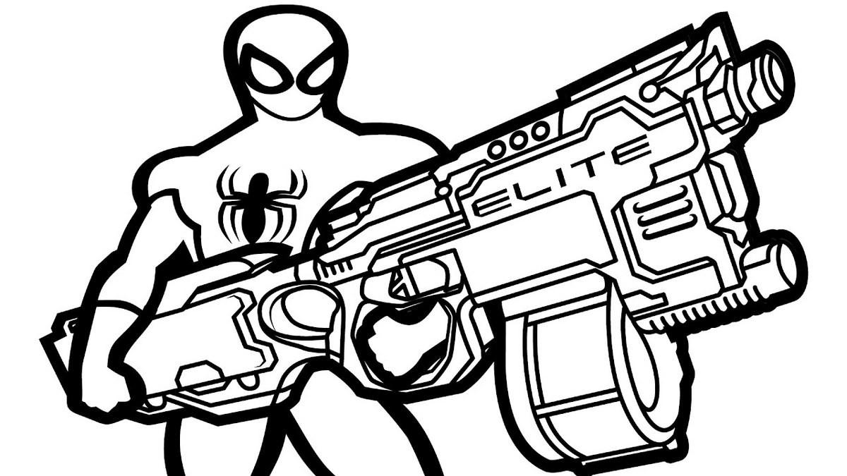 Nerf Ausmalbilder  Nerf Gun Spiderman Themed Coloring Page