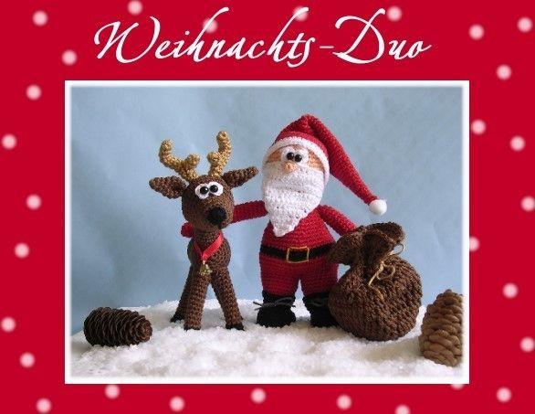 """Nikolaus Geschenke Für Männer  Häkelanleitung """"Weihnachts Duo""""Nikolaus & Ren from Babsie"""