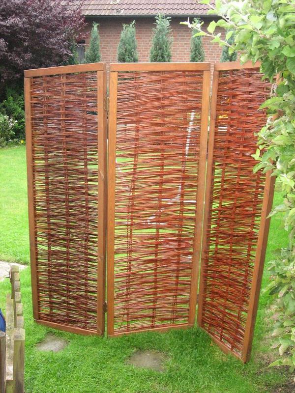 Paravents Für Den Garten  Sichtschutz mobil Paravent aus Weide bzw Raumteiler