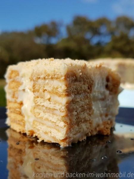 Portugiesischer Kuchen  Portugiesischer Kekskuchen ohne Backen aus dem Wohnmobil