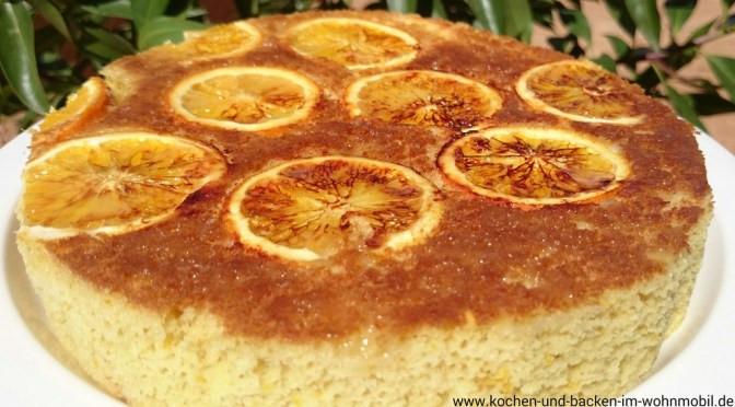 Portugiesischer Kuchen  Orangen Kuchen mit Reismehl in der Pfanne gebacken ohne