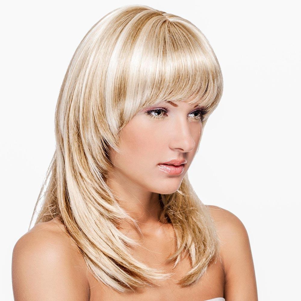 Schöne Frisuren Mit Pony  Langhaarfrisur mit blonden Strähnchen
