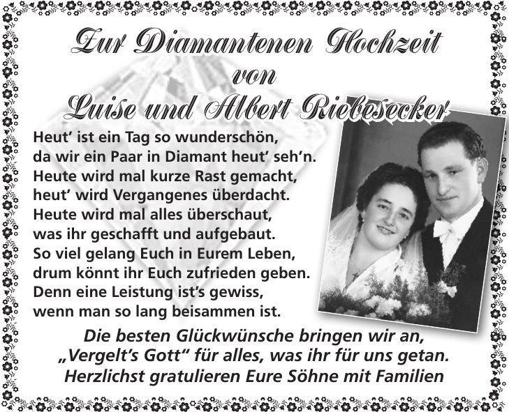 Spruch Zur Diamantenen Hochzeit  Gratulation Zur Diamantenen Hochzeit