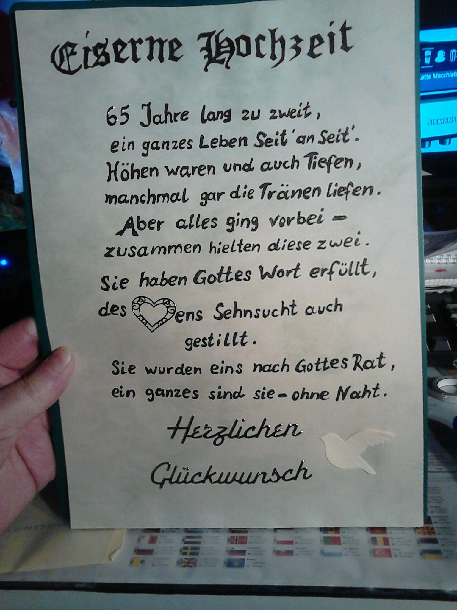 Spruch Zur Diamantenen Hochzeit  65 jahre jubiläum eiserne hochzeit