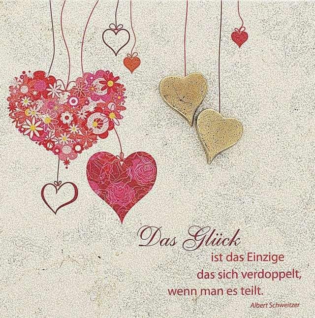 Sprüche Hochzeit Karte  Hochteitswünsche und Zitate Karte mit Herzen