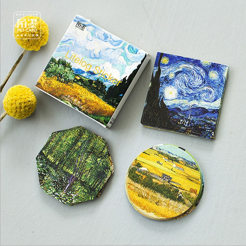 Sticker Diy  45 Pcs box Meet Van Gogh Mini Paper Sticker Decoration Diy