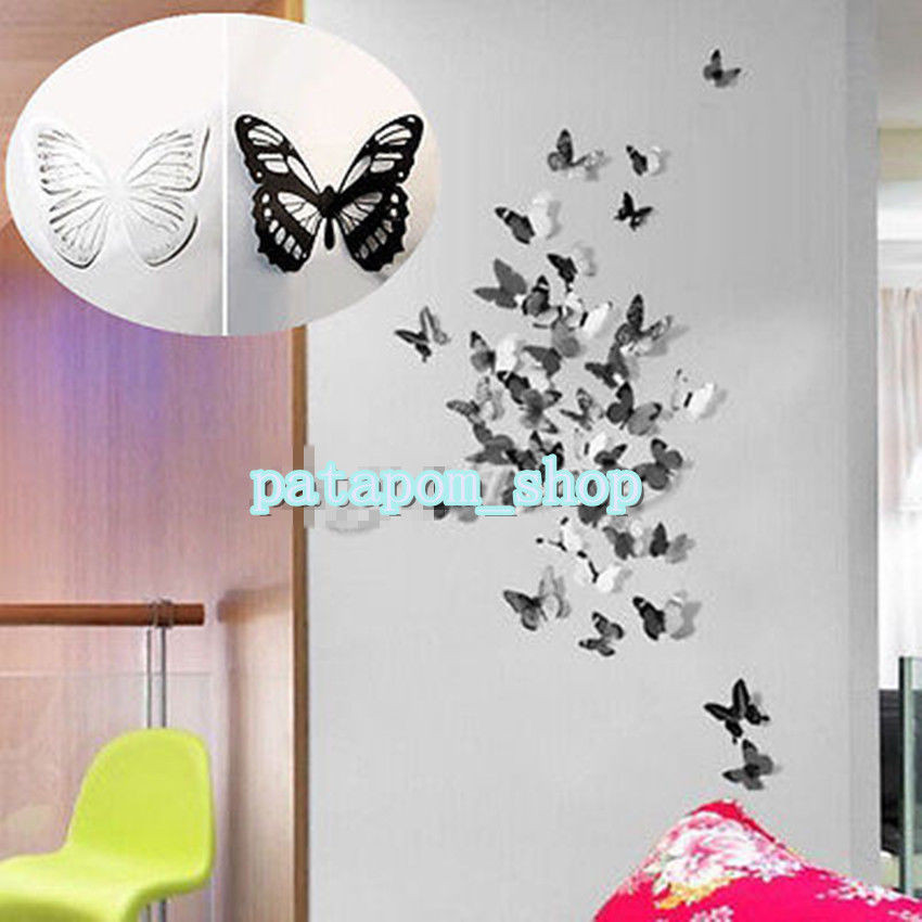 Sticker Diy  3D 18pcs DIY Home Decoration Butterfly Sticker Art Decal