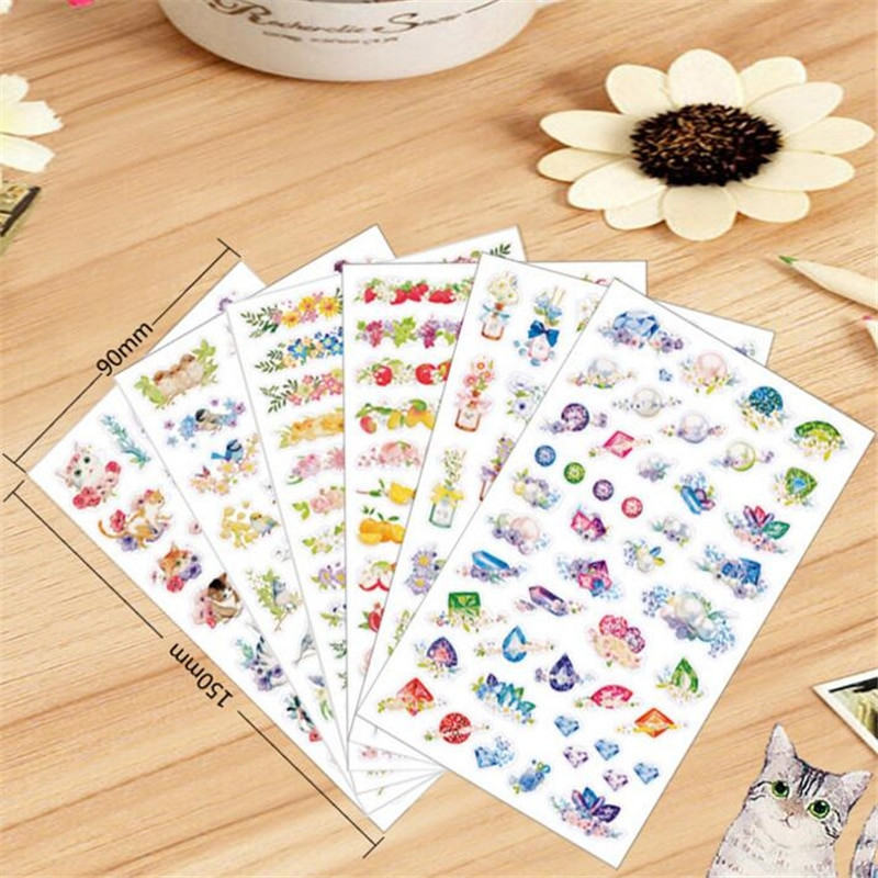 Sticker Diy  6 sheets lot DIY Cute Kawaii Flower PVC Sticker Cartoon