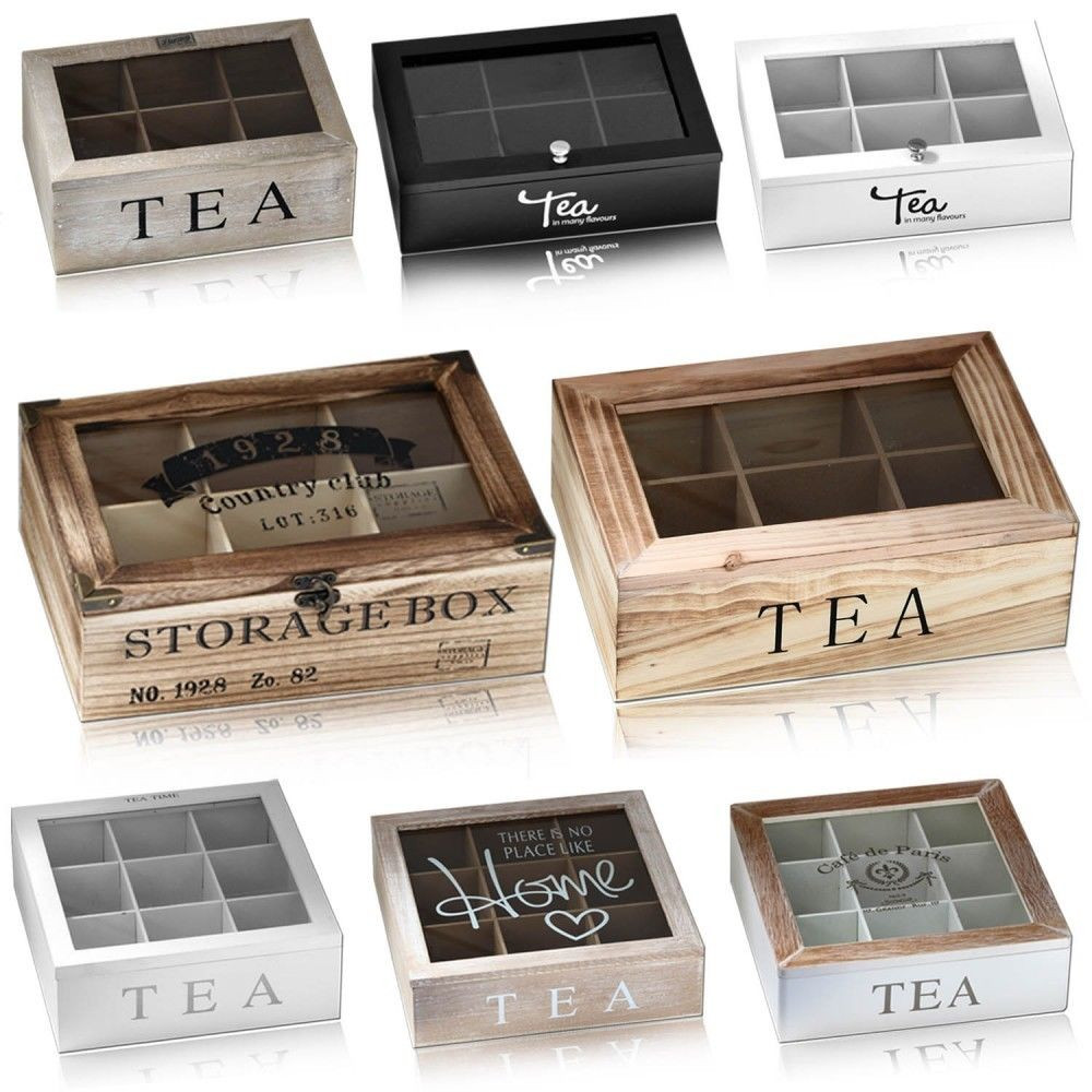 Tee Aufbewahrung Diy  Holz Teebox Aufbewahrung Teekiste Teebeutel Holzbox