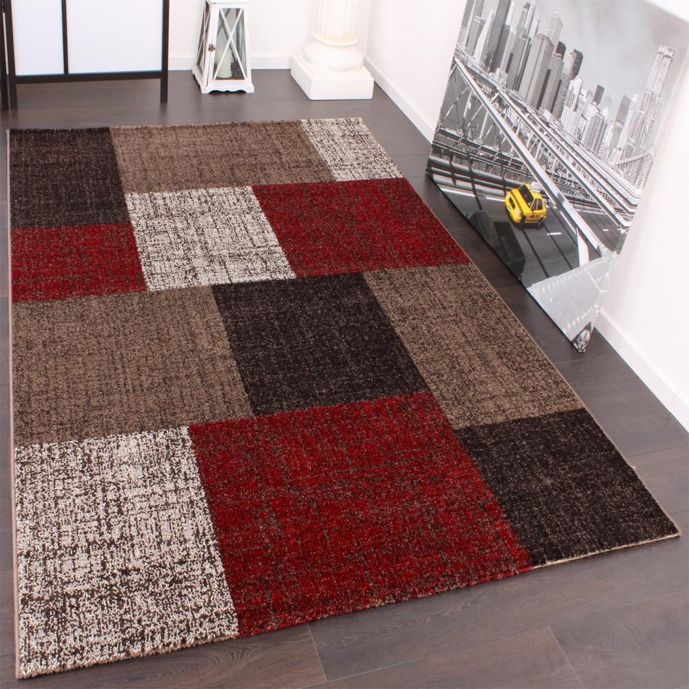 Teppich Rot  Designer Teppich Muster Karo Creme Rot Braun Meliert Wohn