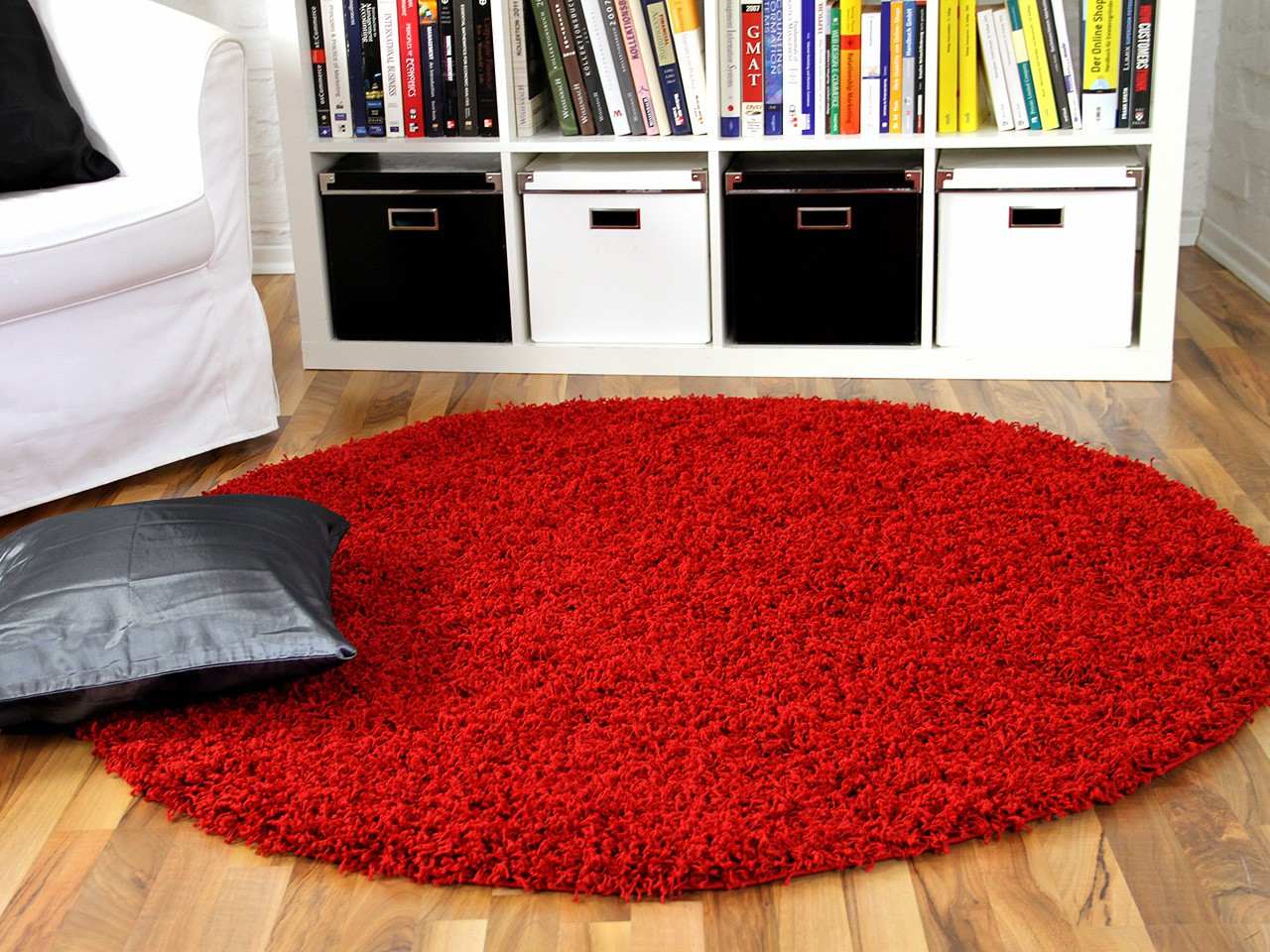 Teppich Rot  Hochflor Langflor Shaggy Teppich Aloha Rot Rund Teppiche