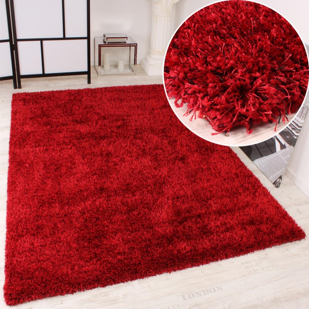 Teppich Rot  Shaggy Teppich Hochflor Langflor leicht Meliert Qualitativ