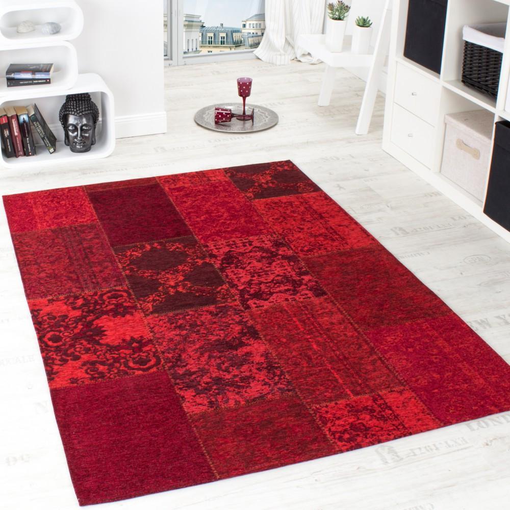 Teppich Rot  Vintage Teppich Antik Trendiger Patchwork Stil Designer