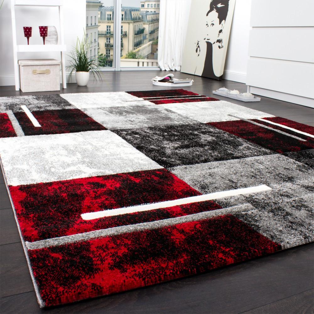 Teppich Rot  Designer Teppich Modern mit Konturenschnitt Karo Muster