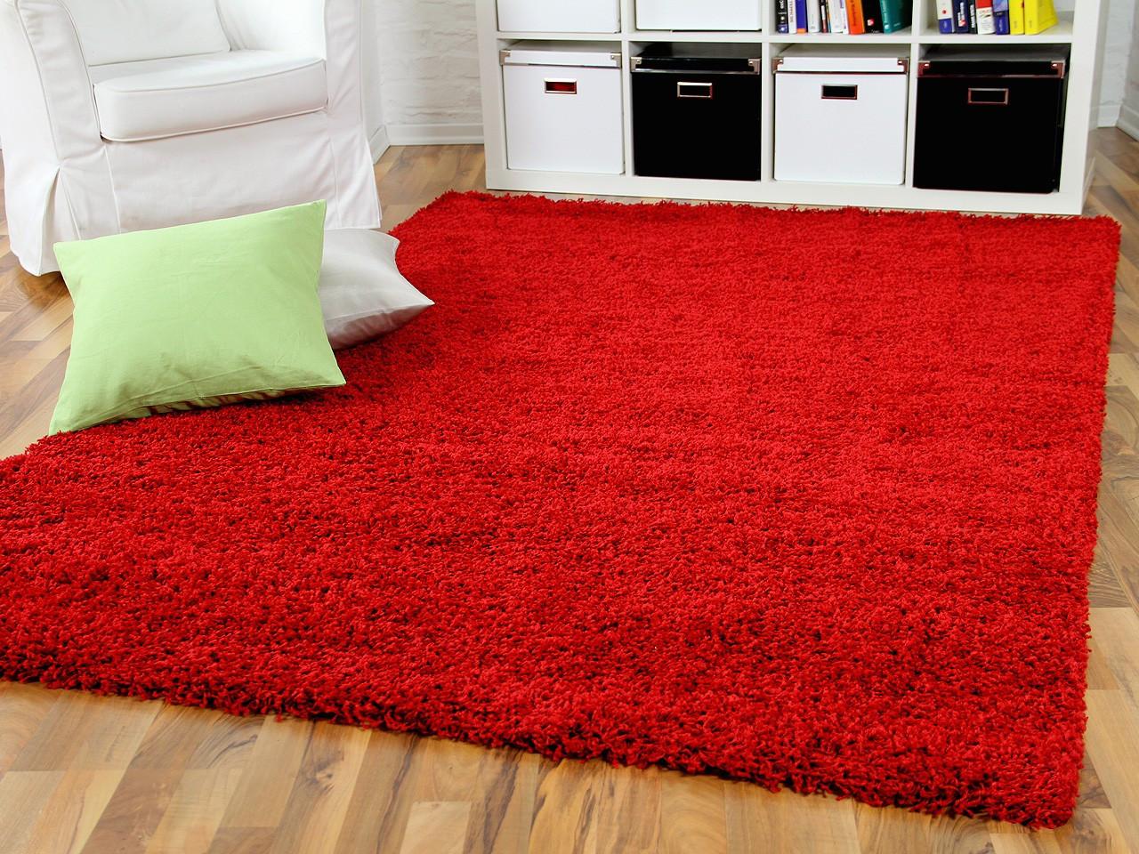 Teppich Rot  Hochflor Langflor Shaggy Teppich Aloha Rot Teppiche