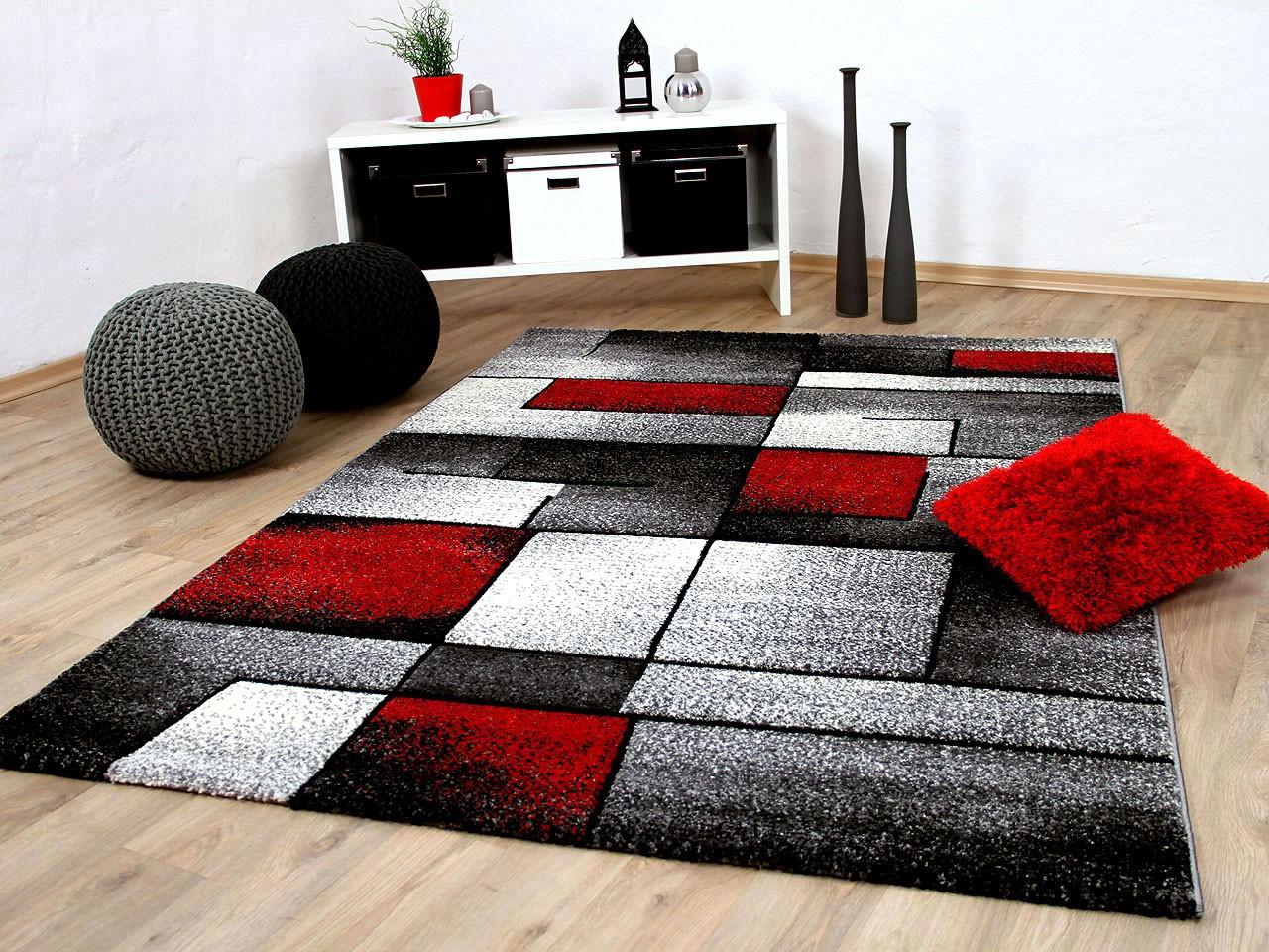 Teppich Rot  Designer Teppich Brilliant Rot Grau Fantasy Teppiche