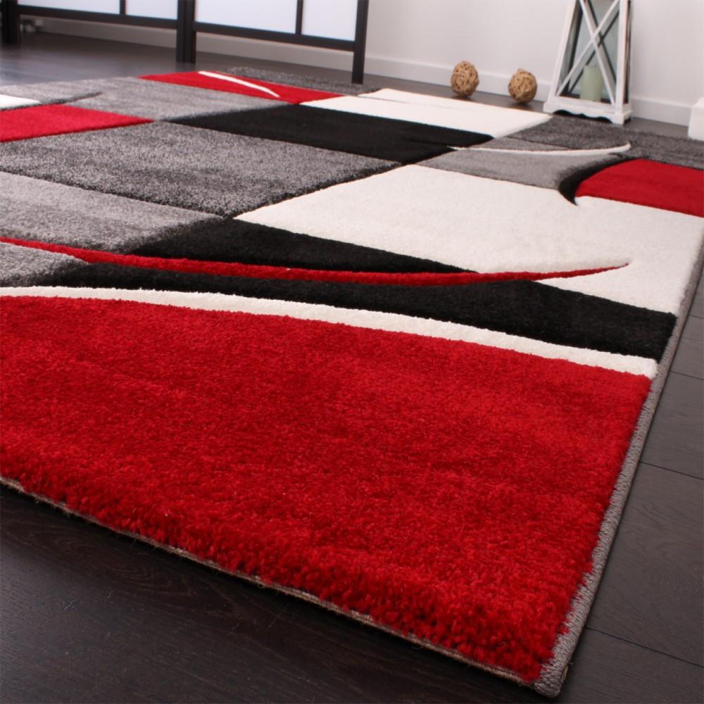 Teppich Rot  Designer Teppich mit Konturenschnitt Karo Muster Rot
