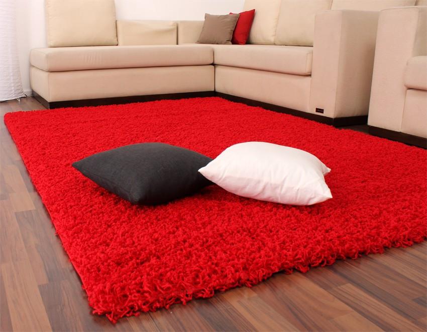 Teppich Rot  Shaggy Hochflor Langflor Teppich Sky Einfarbig in Rot Wohn