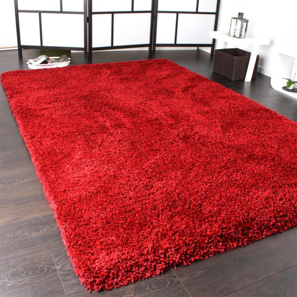 Teppich Rot  Shaggy Teppich Rio XXL Super Shaggy Hochflor Langflor Uni