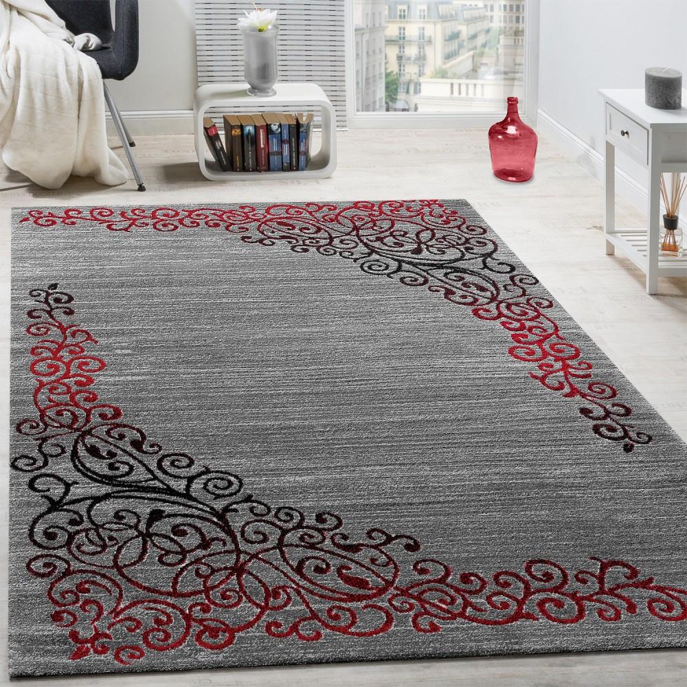Teppich Rot  Designer Teppich Glitzergarn Rot Anthrazit Design Teppiche