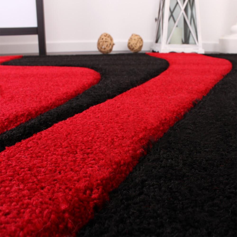 Teppich Rot  Designer Teppich mit Konturenschnitt Wellen Muster Rot