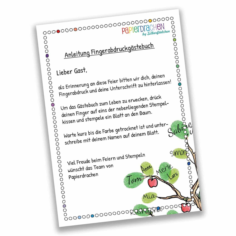 Text Gästebuch Hochzeit  Fingerabdruck Gästebuch Baum für deine Hochzeit