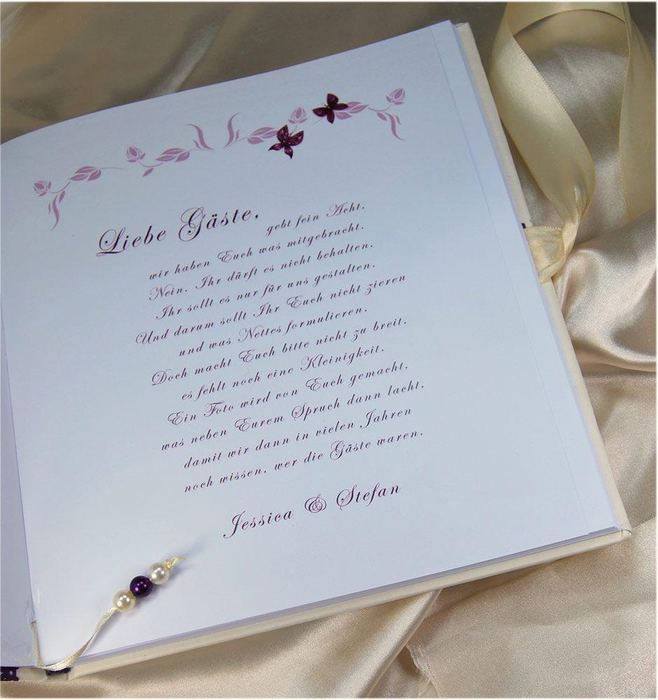 Text Gästebuch Hochzeit  Hochzeit Gästebuch Sprüche basteln Pinterest