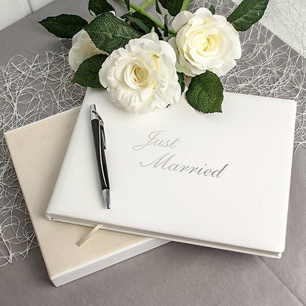 Text Gästebuch Hochzeit  Hochwertiges Gästebuch aus Leder in Weiß für Hochzeit